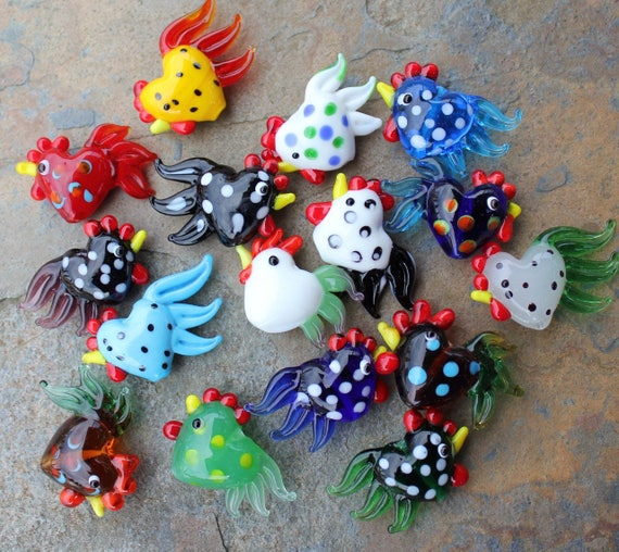 1 large colorful glass rooster bead - you choose color - loose beads -yellow, red, blue, green, white, brown, black, polka dots
