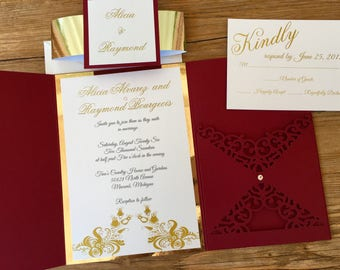Alicia Wedding Invitation -- Pocket Wedding Invitation -- Wine and Gold Wedding Invitation -- Elegant Wedding Invitation