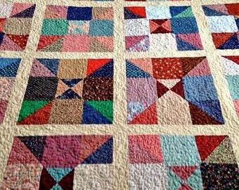 """Quilted Handmade Scrappy Patchwork Lap Quilt – 55"""" wide x 56"""" long - Multi Color"""