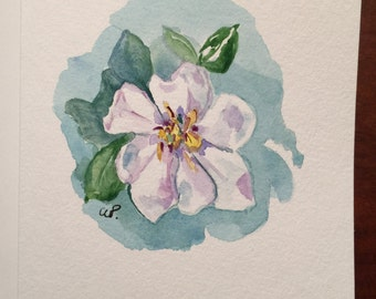Gardenia Watercolor Card / Hand Painted Watercolor Card