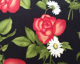 Floral Fabric, Large Red Rose Bloom and White Daisy on Black Background, 100% Cotton Quilt Fabric, By The Yard, Large Flower Pattern