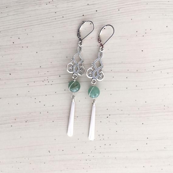 Jade Filigree Tassel Earrings Oxidized Sterling Silver