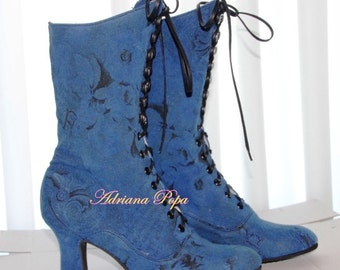 Royal blue Victorian Booties Royal blue Shoes Lace up Boots Eco fabric Ankle boots Customized shoes