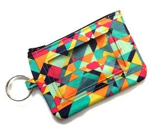 ID Keychain Wallet with Split Ring/Student ID Holder/Keychain Coin Purse/Badge Holder/Card Case/Id Wallet/Id Case/Geometric Aqua Pink Black