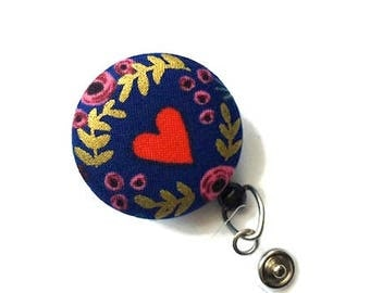 Rifle Paper Co/Heart Retractable ID Badge Reel/ID Badge Holder/Badge Reel/Retractable Lanyard/RNs ID Reel/Teachers Gift/Navy Red Gold