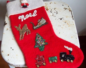 Vintage Christmas stocking hand decorated fuzzy red with NOEL Santa sequins train sleigh tree reindeer gold bell free shipping to USA