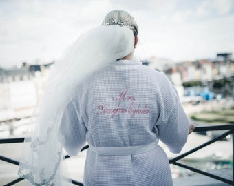Monogrammed Bride Robe Bridesmaids Robes Bride Robe Front and back embroidery