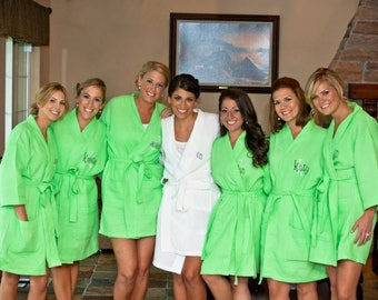 8 Personalized Spa Robes and 1 child robe Bridesmaid Gift Front embroidery is included on all robes