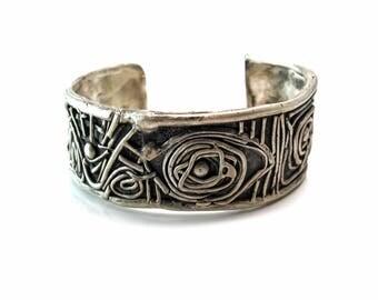 "Sterling Silver .925 ""A Midsummer Night's Dream""  Bracelet, Shakespearean Unisex Cuff, made in NY, Brooklyn design, silver cuff"