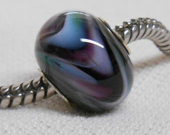 Handmade Glass Lampwork European Charm Bracelet Bead Large Hole Bead Black with Various Colored Swirls