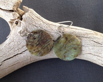 Green Brown Circular Shell Earrings