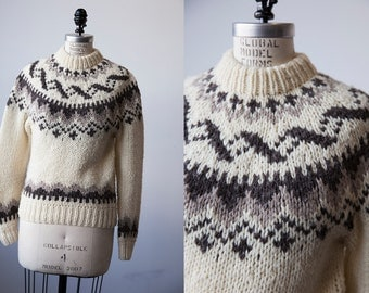 Vintage Wool Lopi Hand Knit Sweater Traditional Winter Nordic Icelandic Small S