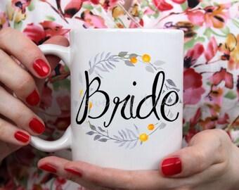 Bridal Party Watercolor Mugs ~ Coffee ~ Tea ~ Metallic Options ~ Wreath, Flower, Bride, Maid of Honor, Bridesmaid, Wedding Favors