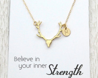 SALE Gold Deer Antler Necklace, Personalized Spring Gift, Initial Disc Necklace, Rose Gold Silver or Gold, Message Card Jewelry