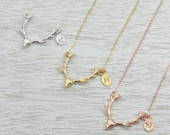 Spring SALE Gold Deer Antler Initial Necklace, Personalized Rose Gold Necklace, Friends-Sisters Necklace,  Strong Friendship, Wedding Gift