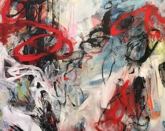 Large abstract expressionist colorful painting  -Samba 40 x 60