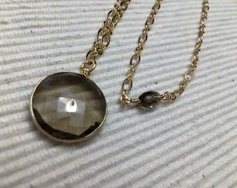SMOKEY QUARTZ NECKLACE, Gold Chain, Pendant, Smokey Quartz, Swarvoski, Hand Wire wrapped, One length long necklace