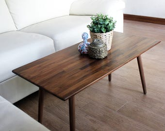 Classic Walnut Coffee Table - Modern Wood Furniture Mid Century Eames Style Hardwood Design