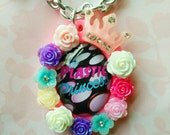 PLASTIC PRINCESS- FLORAL Crown Glitter Pink Scalloped Resin Glass Image Decoden Cameo necklace
