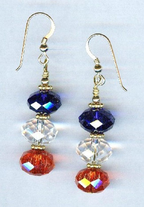 Patriotic Red White & Blue Faceted BOLD Crystal Bead Earrings 2
