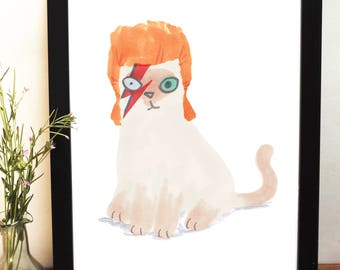 David Bowie Tribute Illustration Giclee Print Cat In Wig Illustration