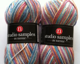 Two Skeins of Studio Samples by Nicole Sock Yarn, Multicolor Sock Yarn, Fingering Wool Acrylic Blend Sock Yarn, Shawl Yarn, Spring, Summer