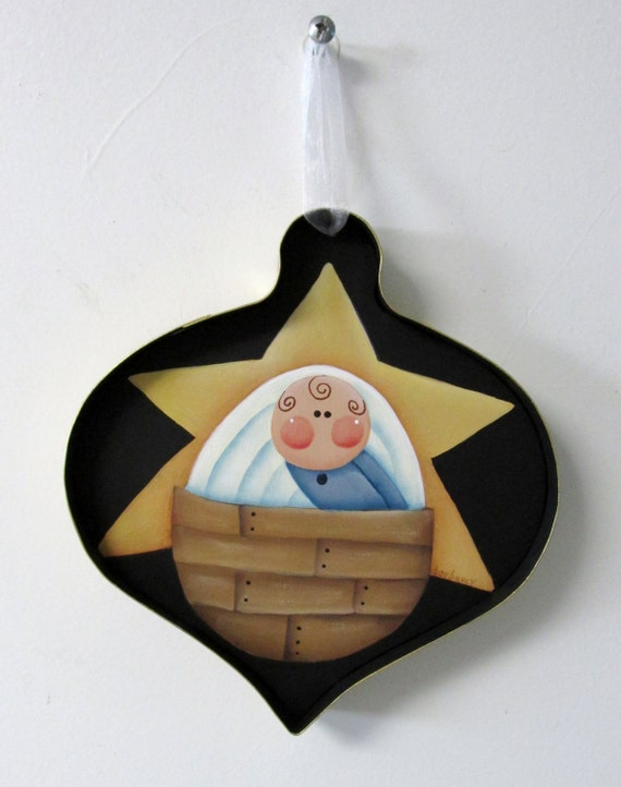 Nativity ornament baby in manger yellow star metal