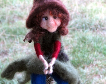 Needle felted halloween witch on broomstick Halloween decor Home decor Art doll Felted doll fantasy doll