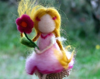 Fairy ornament, Spring ornament, Easter decoration, Needle felted decoration, Waldorf inspired fairy, Felted ornament, Nursery decoration