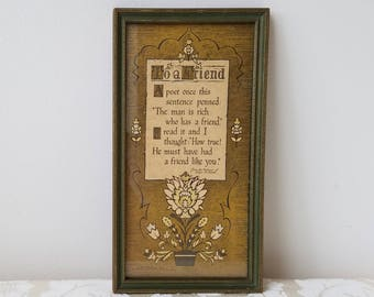 "Vintage Buzza Motto ""To A Friend"" Poem By Edgar A. Guest, Beveled Wood Frame Wall Art Print"