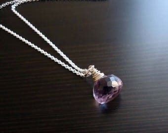 Lavender Quartz Necklace, Wire Wrapped, Sterling Silver