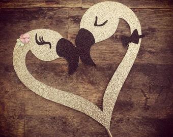 Flamingo Glitter Engagement  or Wedding Cake Topper. Bridal Shower Cake Topper Flamingo Heart Cake Topper