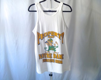 Vintage 90's Notre Dame® Fighting Irish Leprechaun Tank Top Men's Medium