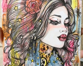 A Touch Of Night  - Original 6x8 Inches Ink and Watercolor Illustration Woman Tattoo Art Sunset Lowbrow Painting Gift Stars