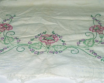Vintage Dresser Scarf Embroidery Work Morning Glory Unfinished Edge To Finish Table Scarf Shabby Chic Cottage Farmhouse Decor 4175