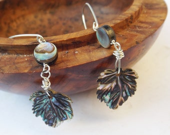 Abalone earrings, carved shell, shell earrings, sterling silver, handcarved shell, abalone leaves, rainbow colours, drop earrings