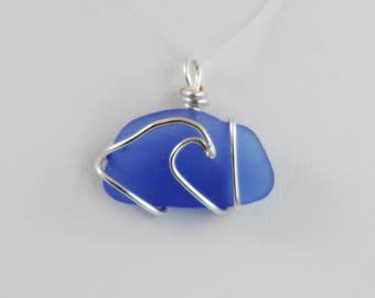 Blue Sea Glass Silver Wave Surf Necklace Pendant Beach Glass Ocean Cobalt