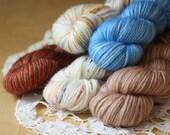 Hand Dyed MCN Mini Skeins / Fingering Weight Yarn / Labyrinth White Owl Cinnabar Sky Blue Superwash Merino Wool Cashmere Nylon / NEW