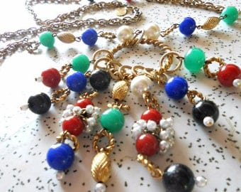 Rare Kramer Geoffrey Beene Couture Runway Opera Length Charm Necklace 1960s 1970s Estate Jewelry