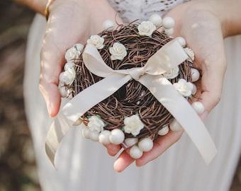flower birds nest ring bearer pillow - rustic wedding flower ring bearer pillow, birds nest ring pillow, woodland wedding, forest wedding