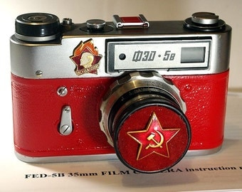 Red USSR FED-5B camera vintage Russian Leica in box  -= Aways Ready=-