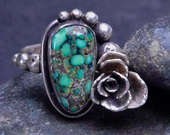 Turquoise Ring, Succulent Flower, Statement Ring, Botanical, Sterling Silver Ring, Flower Ring, Metalsmith Jewelry - Size 8