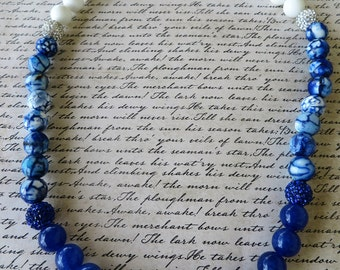 Blue And White Ombre Agate Beaded Necklace