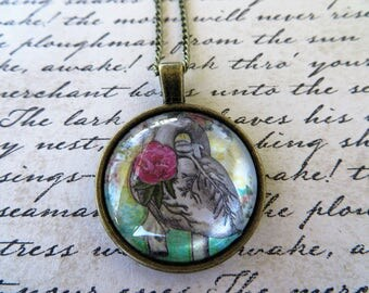 Vintage Look Heart Print Pendant WIth Antique Gold Toned Necklace