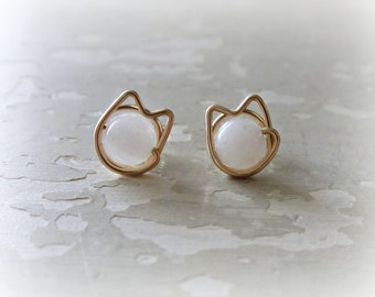 White Cat Studs, Gold Cat Posts, Cat Lover Gift, Kitty Stud Earrings, White Cat Earrings, Cat Jewelry, Small Cat Studs, Cat Post Earrings