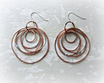 Copper Circle Earrings, Copper Multi Hoop, Copper Dangles, Copper Hoop Earrings, Copper Earrings, Hammered Copper Jewelry, Statement Copper