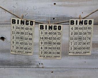 20 Vintage Bingo Game Cards, 1960's, Wedding Games, Bridal Shower Game, Table Markers, Paper Ephemera
