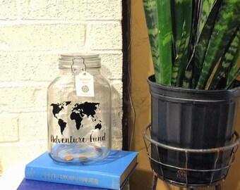 Travel Fund Coin Jar Adventure Fund Savings Jar Wanderlust World Map Money Jar