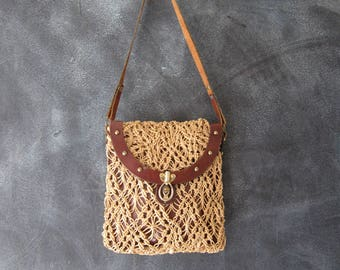 60s John Romain Straw Macrame Leather Wine Leather Shoulder Handbag Boho Hippie