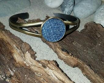 Round Denim Pendant cuff bangle bracelet silver, bronze or rose gold